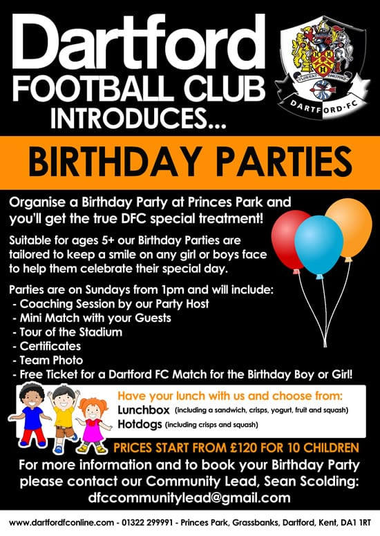 Birthday Parties - Dartford FC