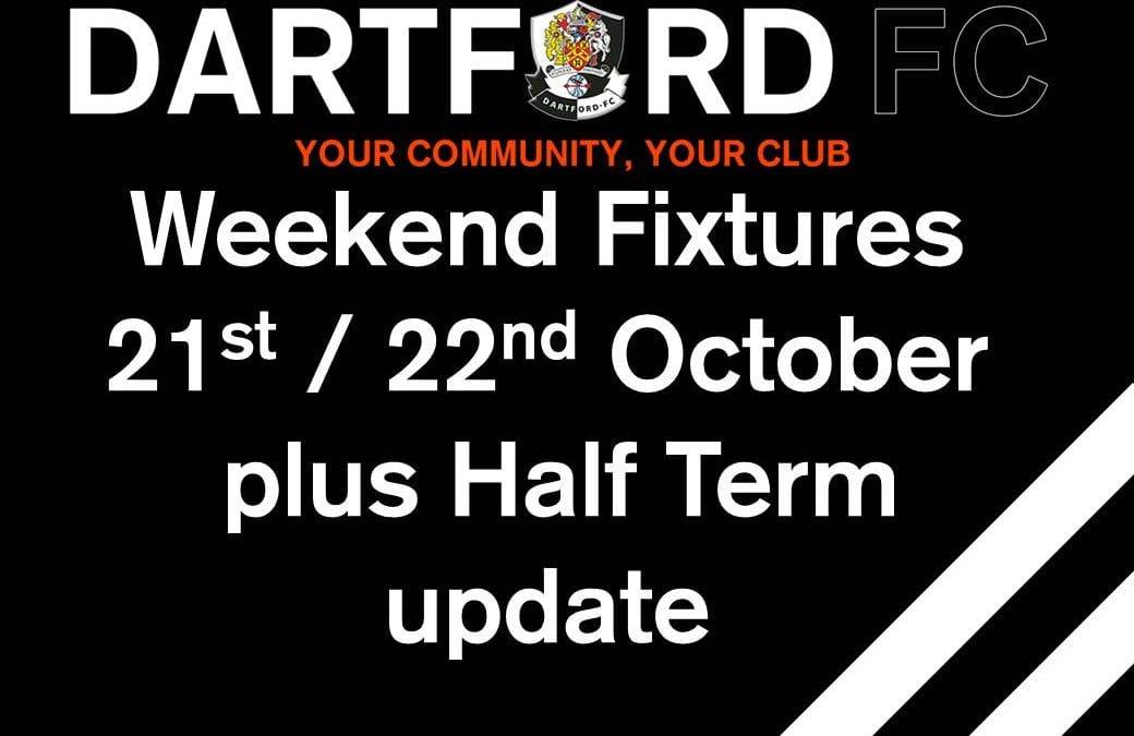 Weekend Fixtures 21st/22nd October – plus Half Term update