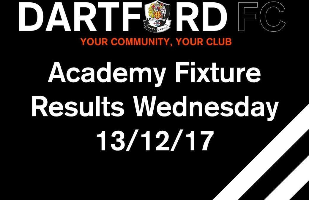 Academy Match Reports – Wednesday 13/12/17
