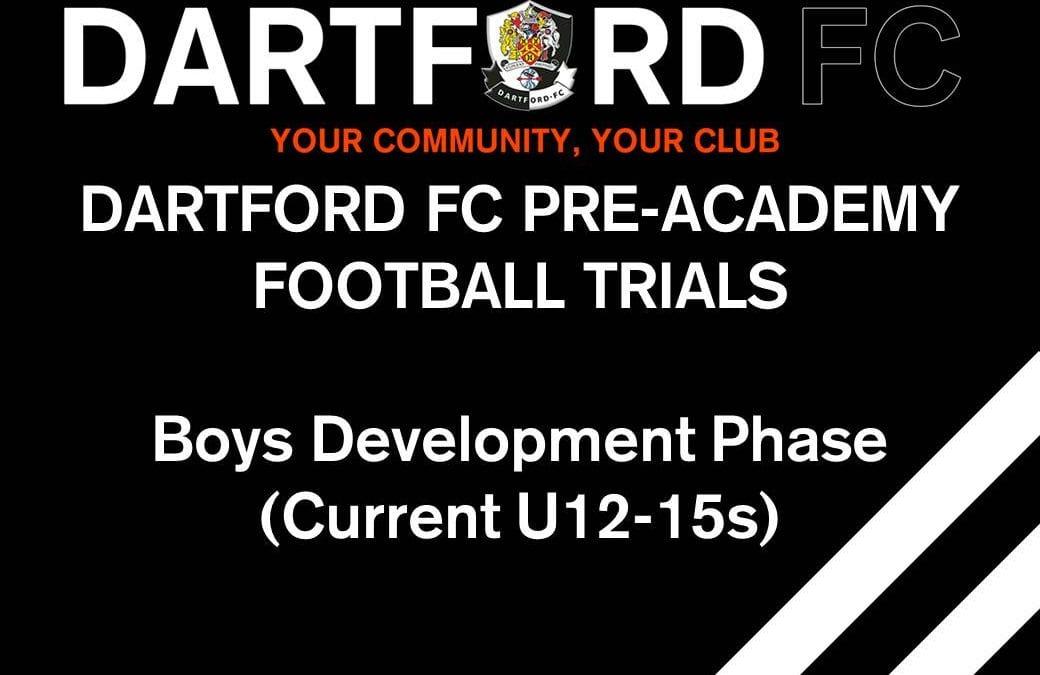Dartford FC Pre-Academy (Current U12s – U15s)