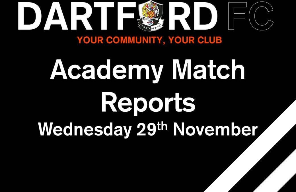 Academy Match Reports