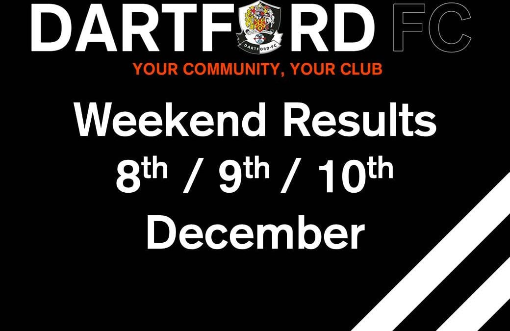 Weekend Results 8th/9th/10th December
