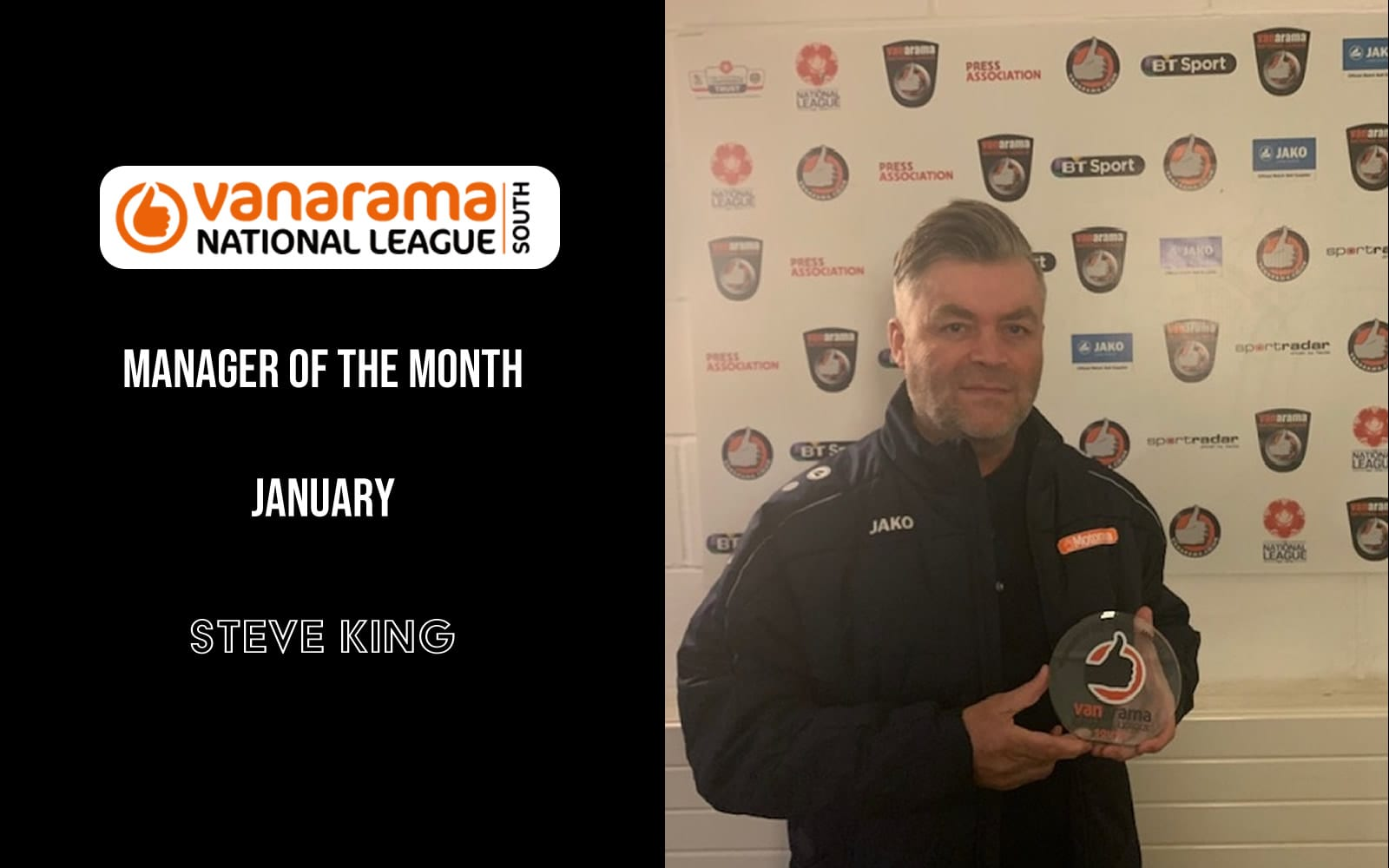 Steve King Manager of the Month Jan